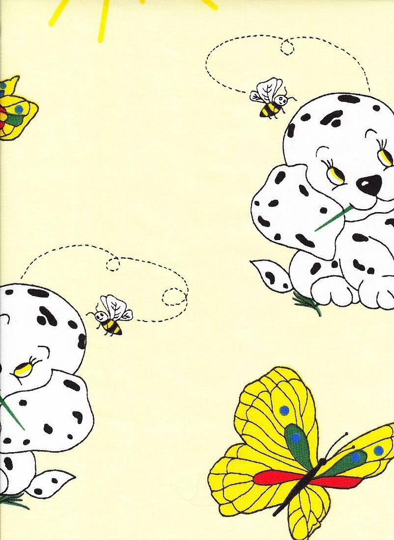Povlečení krep do postýlky Pejsek s motýlem žluté 90x130, 45x60 cm