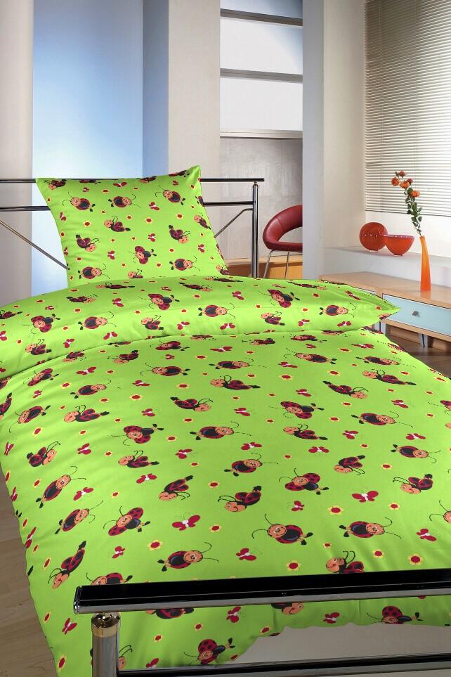 Povlečení krep Berušky zelené 140x220, 70x90 cm
