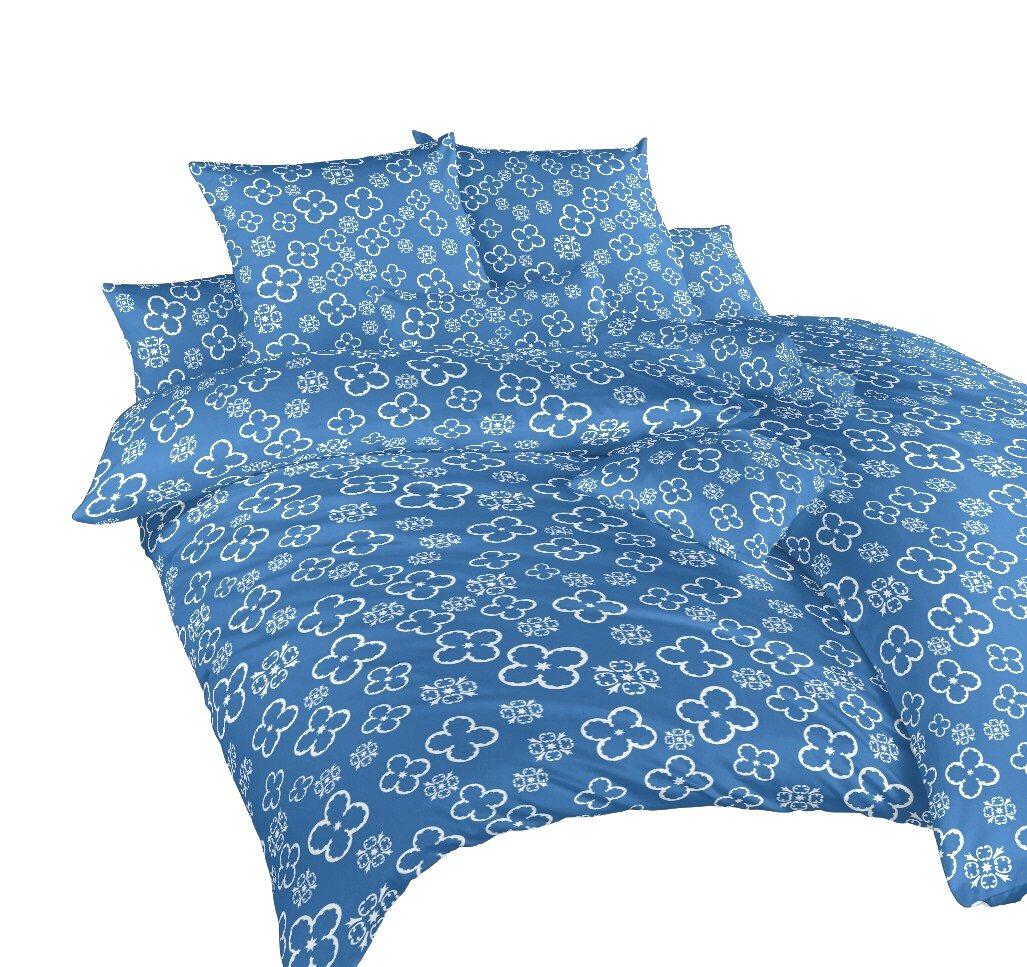 Povlečení bavlna Čtyřlístek bílý na denimu 140x200, 70x90 cm