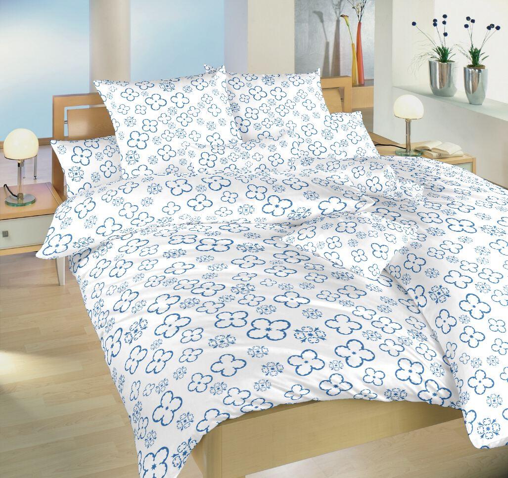 Povlečení bavlna Čtyřlístek denim na bílém 140x200, 70x90 cm