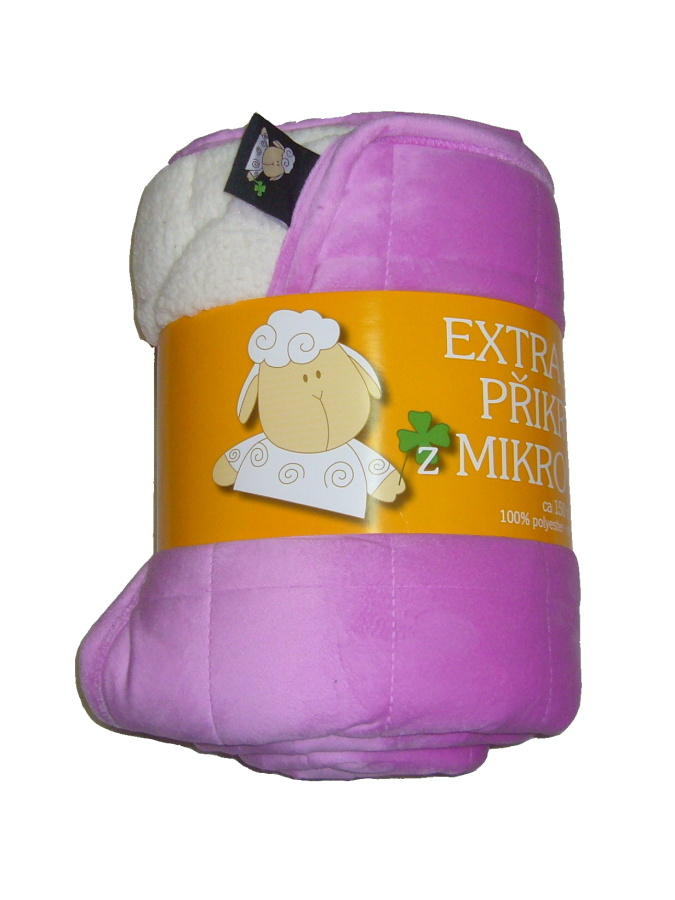 Deka mikrovlákno Ovce prošev fialová/bílá 150x200