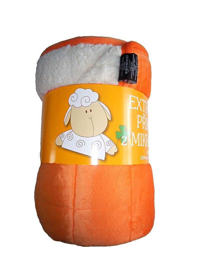 Deka mikrovlákno Ovce prošev oranžová/bílá 150x200 cm