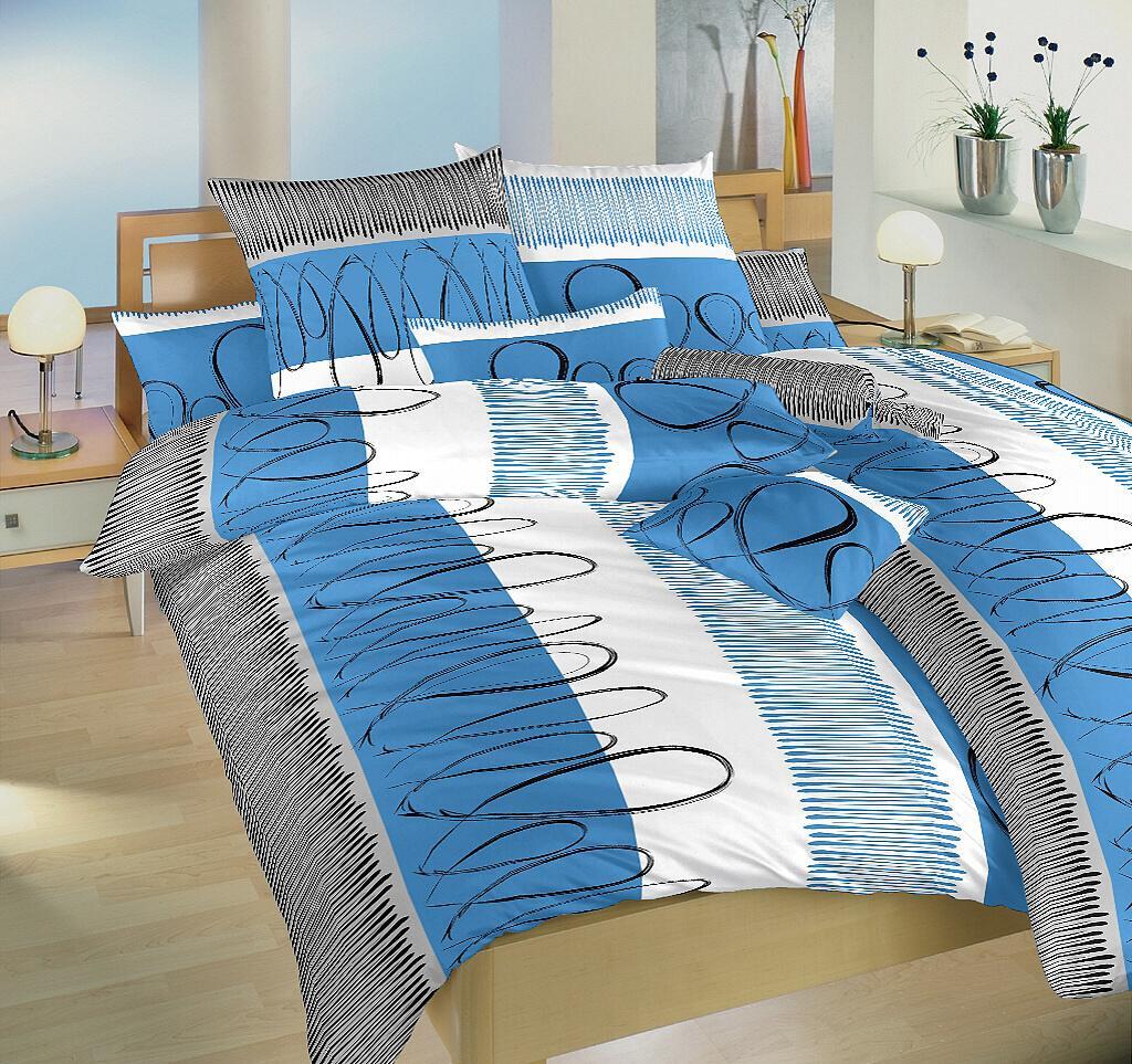 Povlečení flanel Evelína modrá 140x220 cm povlak