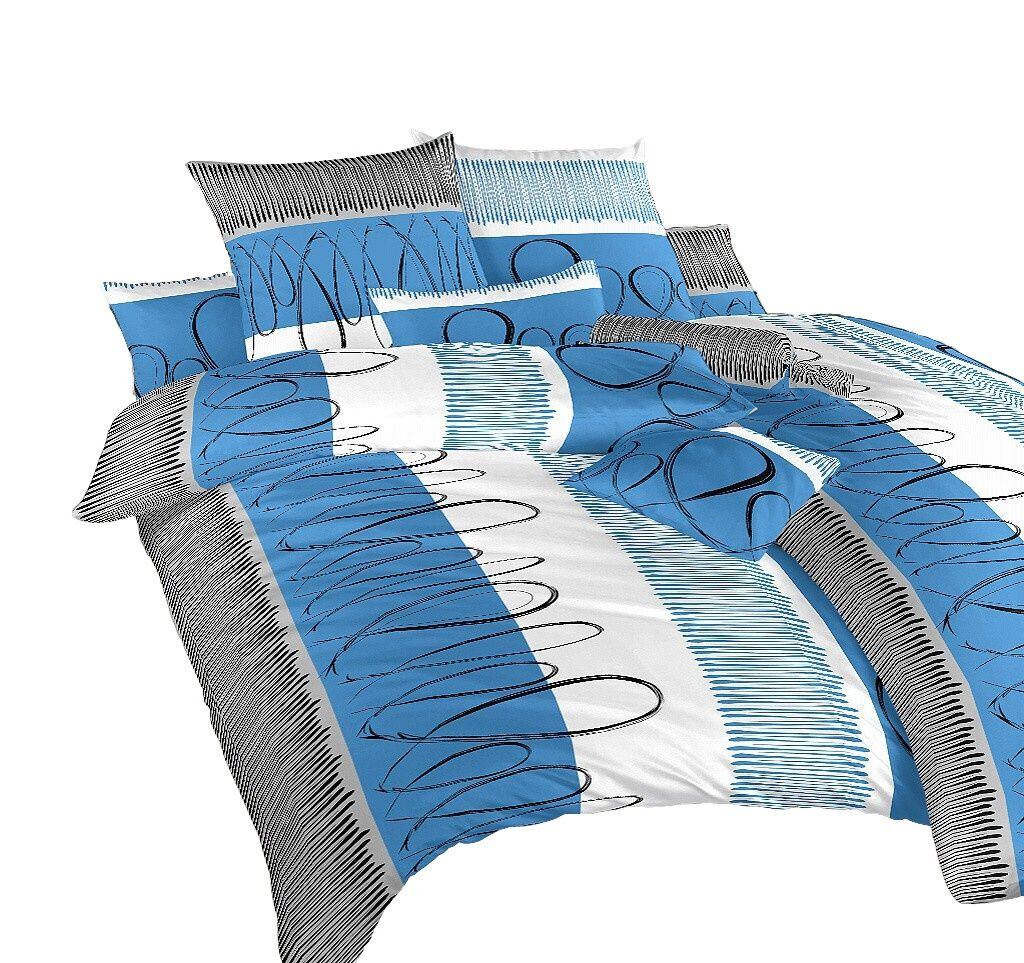 Povlečení flanel Evelína modrá 140x200, 70x90 cm