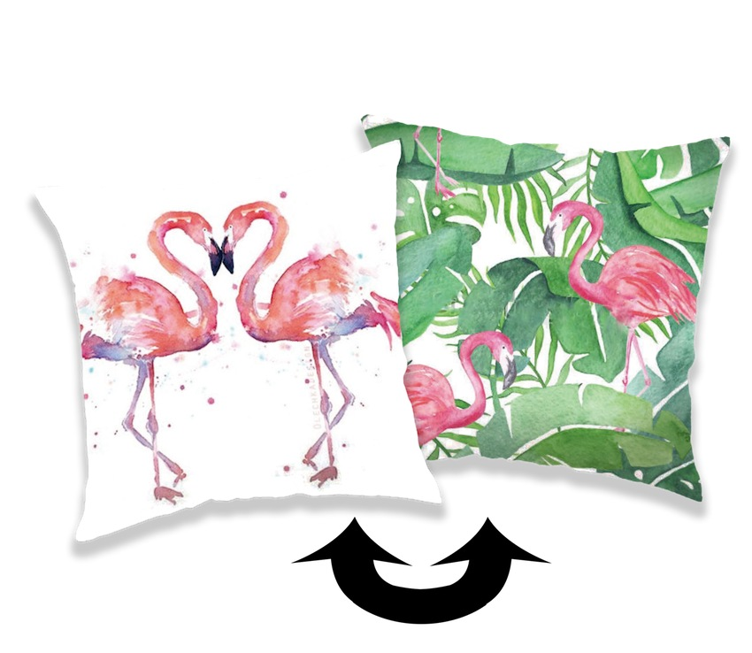Polštářek s flitry Flamingo 01 40x40 cm
