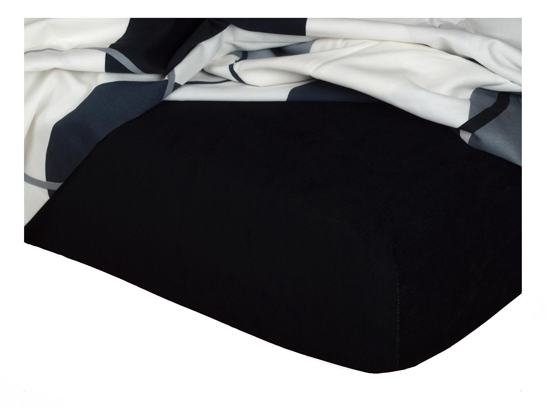 Froté prostěradlo černá 90x220x15 cm