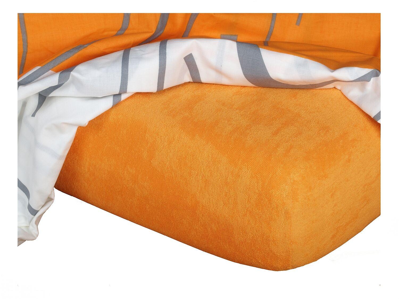 Froté prostěradlo pomeranč 200x220x15 cm
