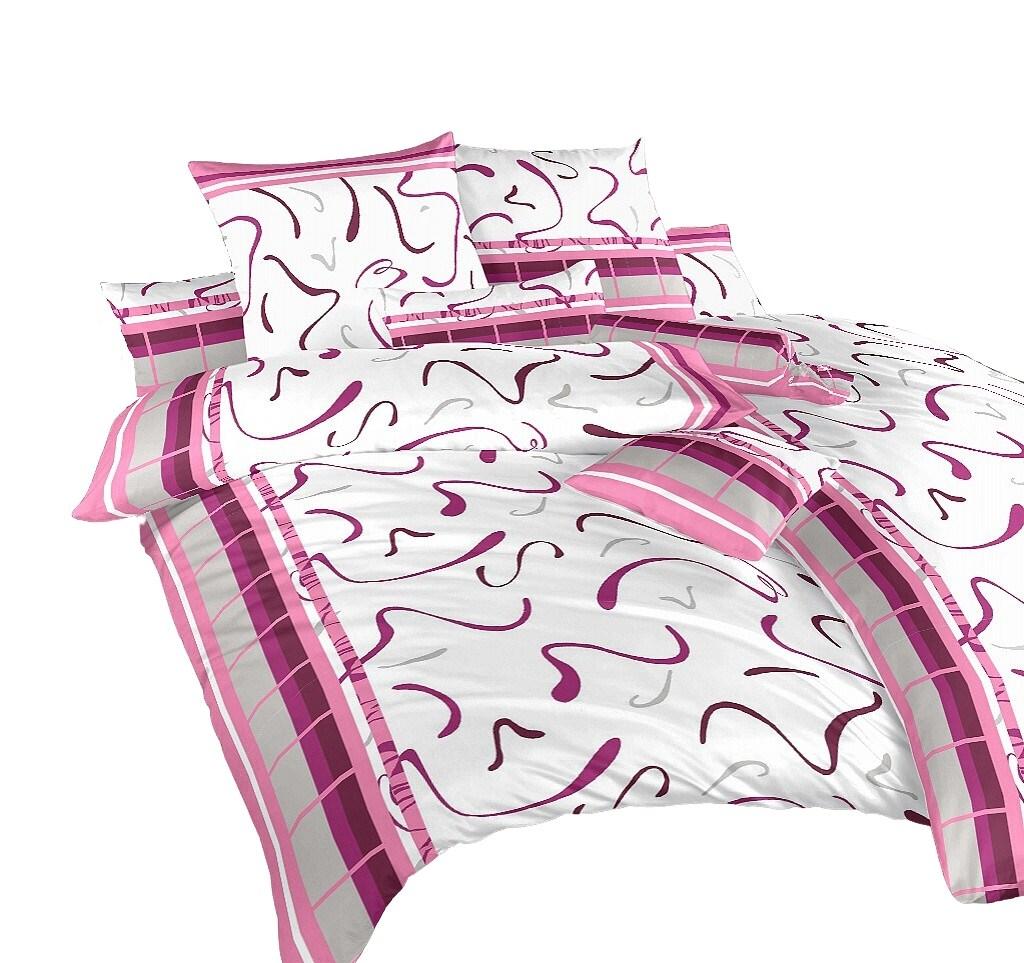 Povlečení satén Herta růžová 240x200, 2x70x90 cm