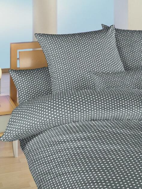 Povlečení bavlna do postýlky Hvězdička bílá na šedém 90x130, 45x60 cm