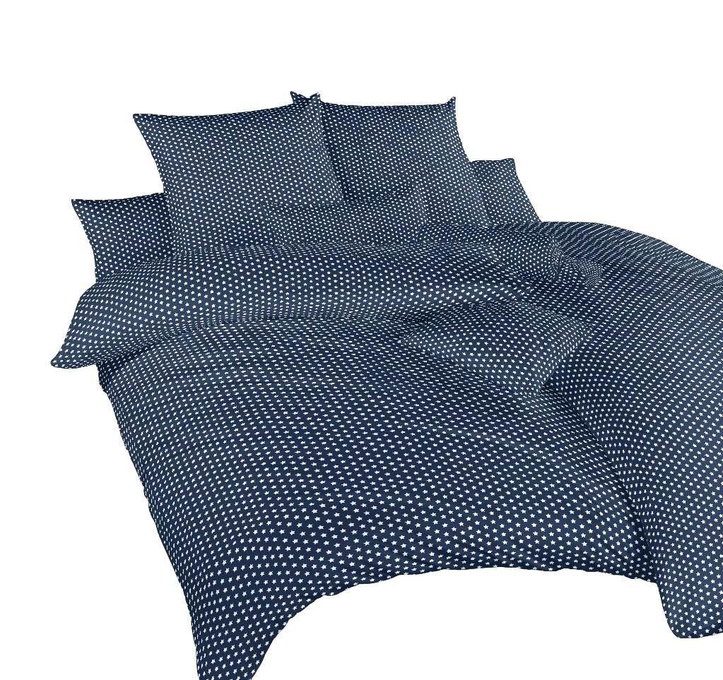 Povlečení bavlna Hvězdička bílá na tmavě modrém 140x200, 70x90 cm