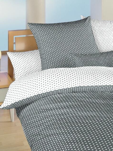 Povlečení bavlna do postýlky Hvězdička bílá/šedá DUO 90x130, 45x60 cm