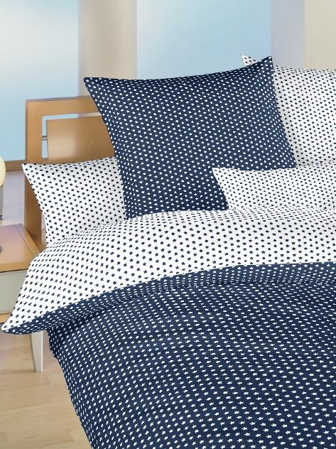 Povlečení bavlna do postýlky Hvězdička bílá/tmavě modrá DUO 90x130, 45x60 cm