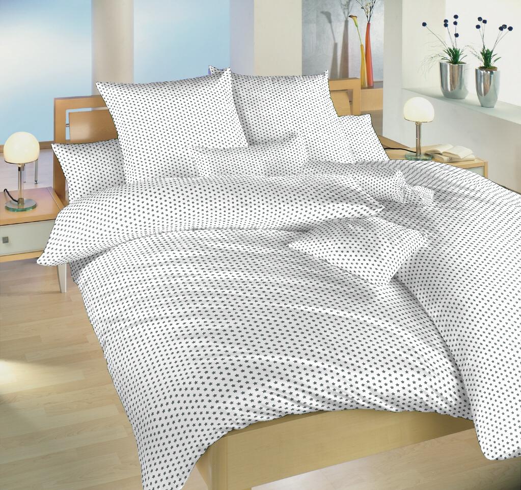Povlečení bavlna Hvězdička šedá na bílém 140x200, 70x90 cm