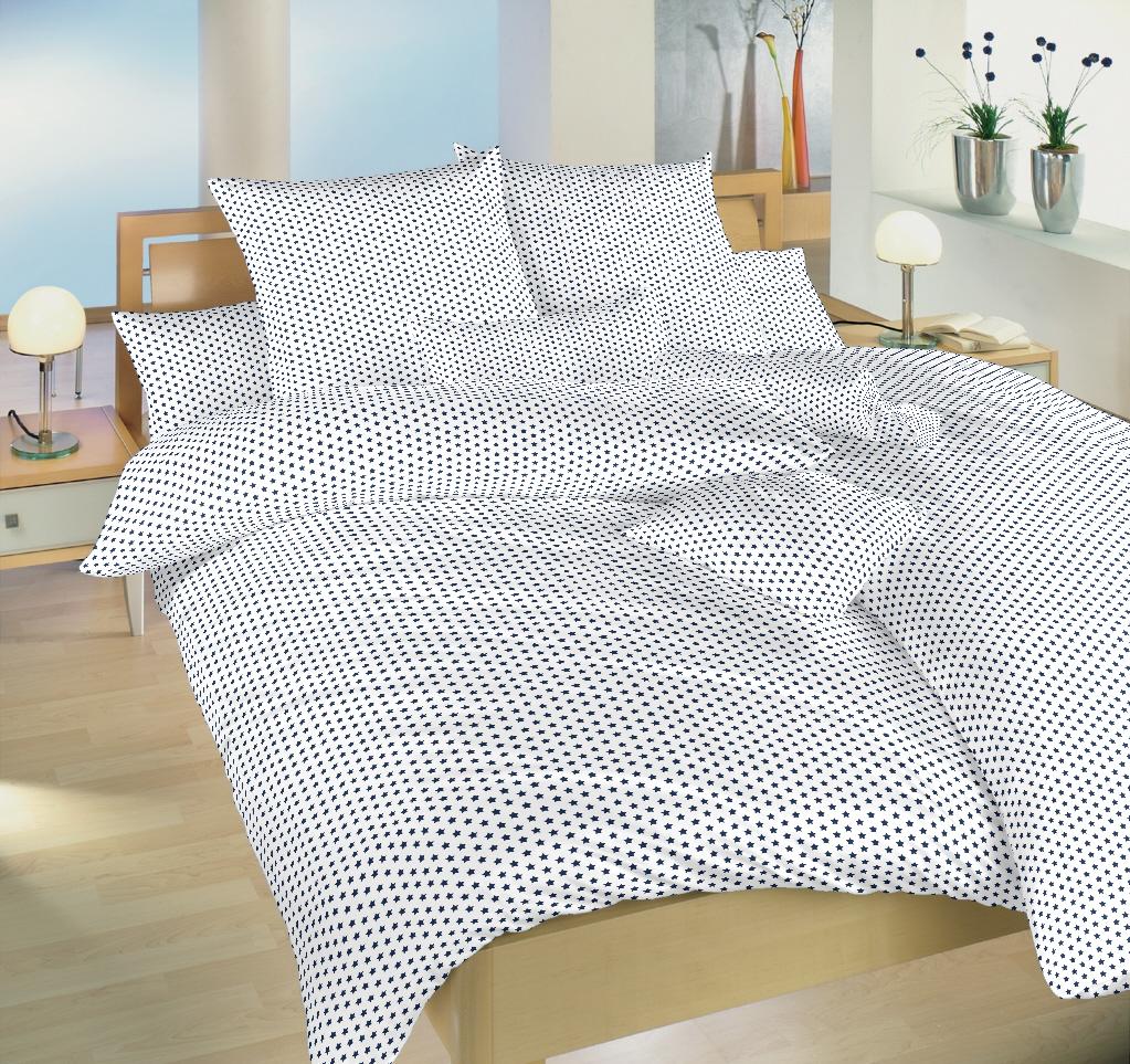 Povlečení bavlna Hvězdička tmavě modrá na bílém 140x200, 70x90 cm