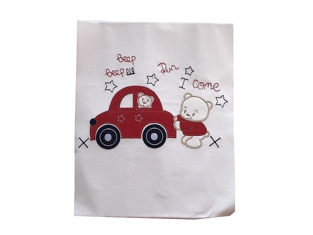 Dětská bavlněná deka Méďa s autíčkem 90x90 cm