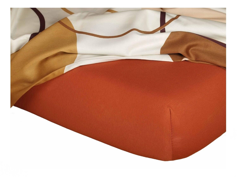 Jersey prostěradlo cihlová 90x200x18 cm