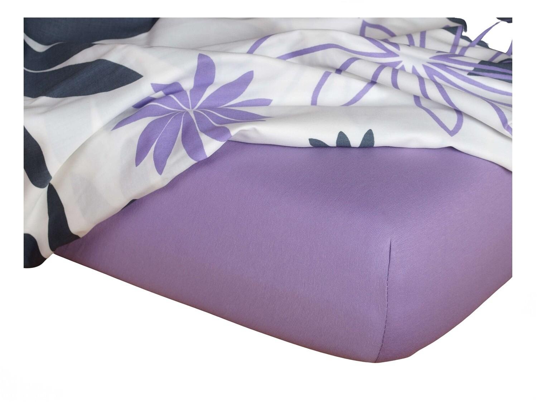 Jersey prostěradlo fialová 90x220x18 cm