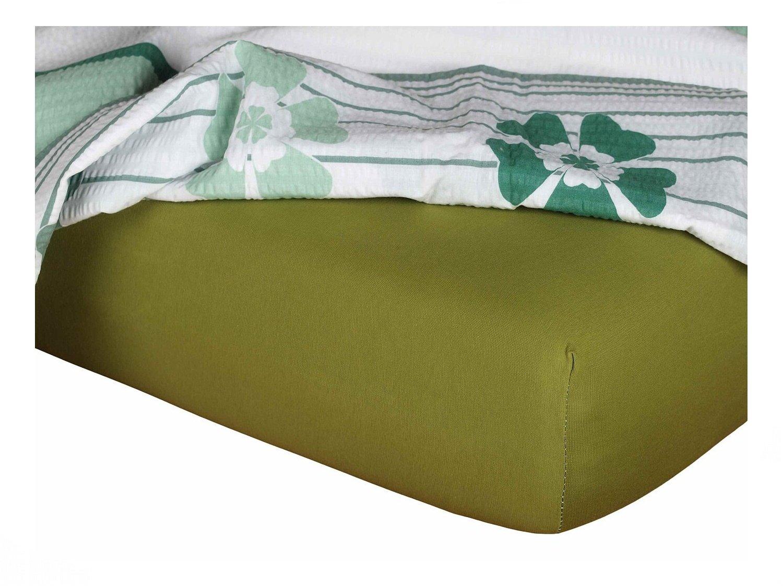 Jersey prostěradlo olivová 90x200x18 cm