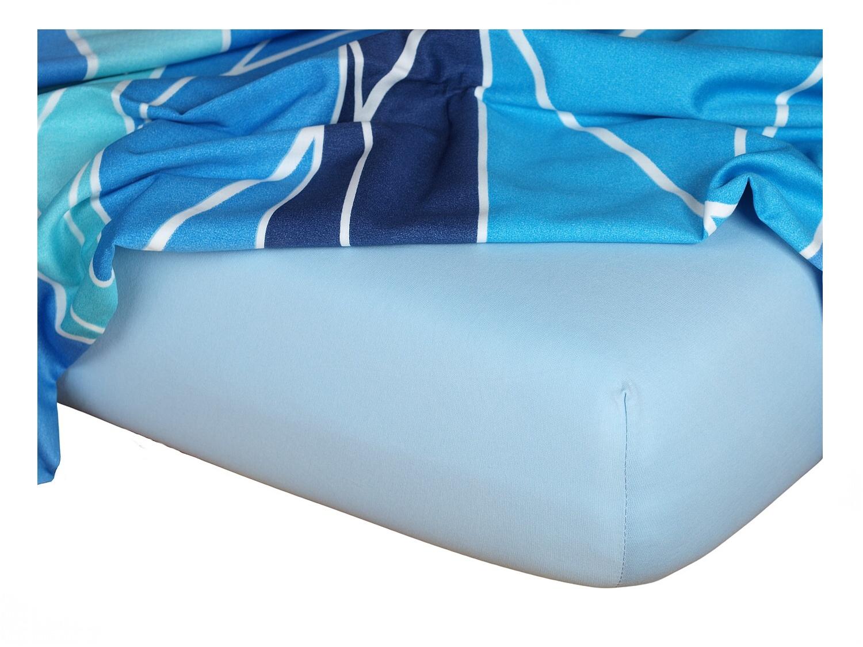 Jersey prostěradlo světle modrá 180x200x18 cm