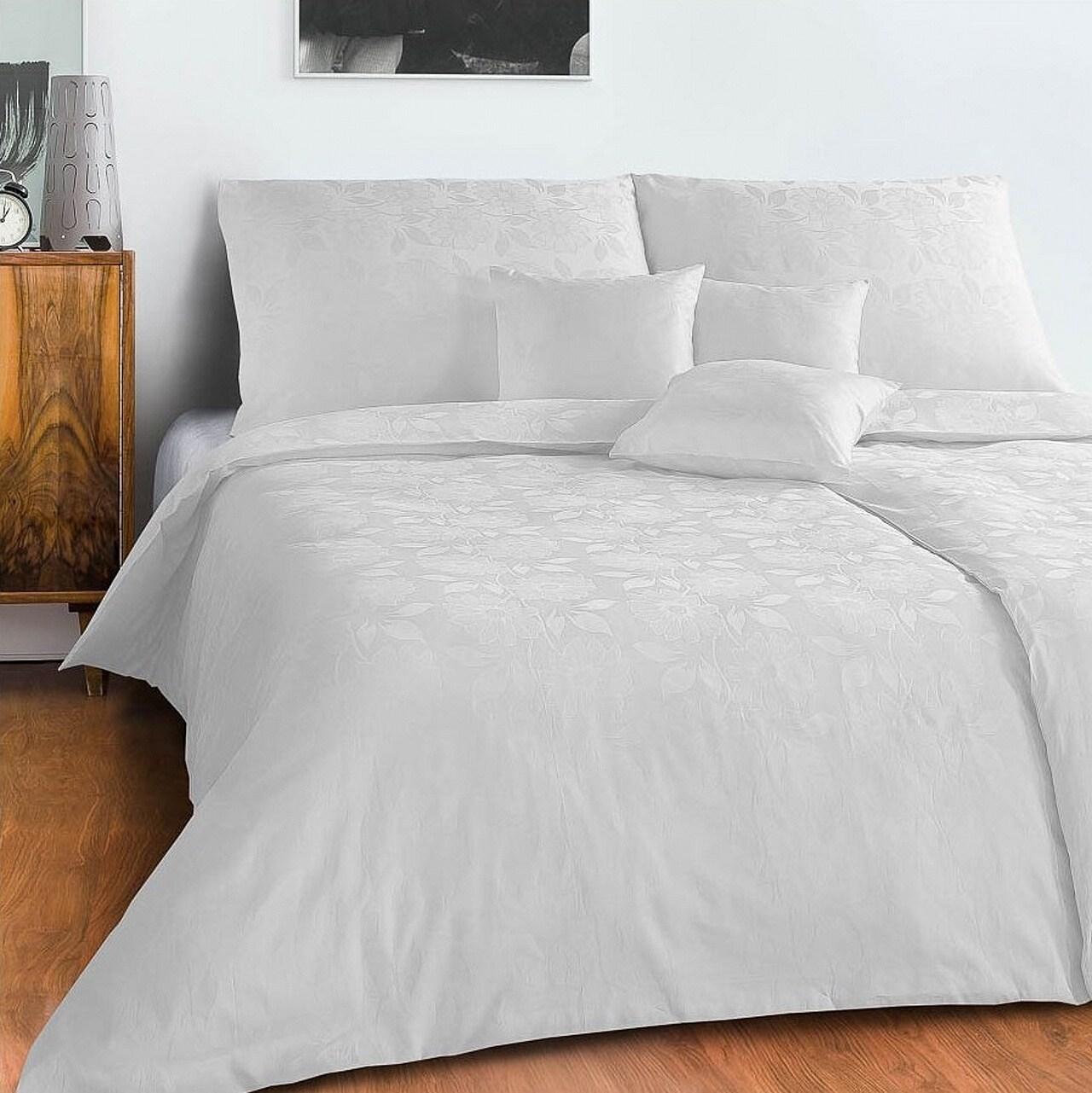 Povlečení damašek Jiřiny bílé 140x220, 70x90 cm