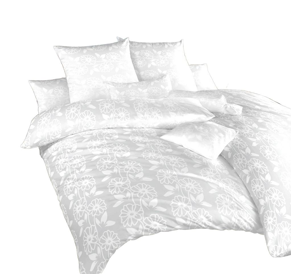 Povlečení damašek Jiřiny bílé 240x200, 2x70x90 cm