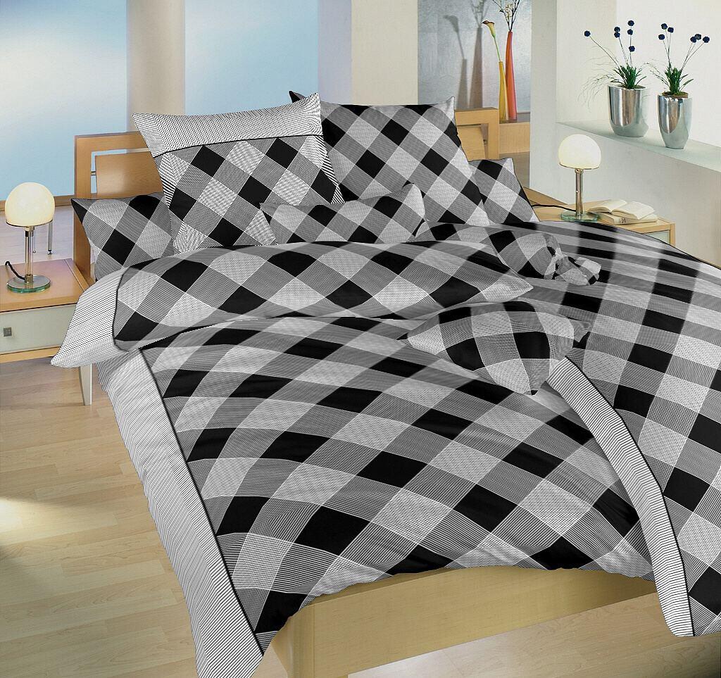 Povlečení bavlna Káro černé 140x200, 70x90 cm