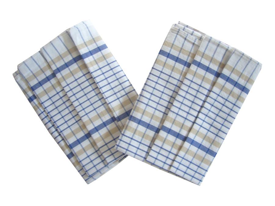 Utěrka Bavlna z egyptské bavlny 50x70 Kostka bílo/modrá 3 ks