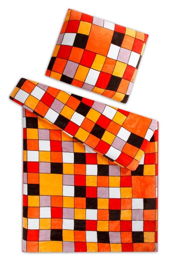 Povlečení mikroflanel Kostka oranžová 140x200, 70x90 cm