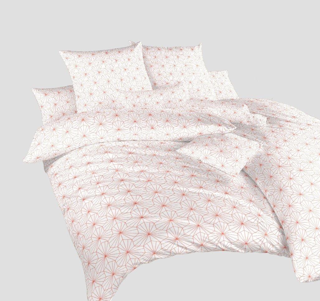 Povlečení bavlna Krystal losos na bílém 240x200, 2x70x90 cm