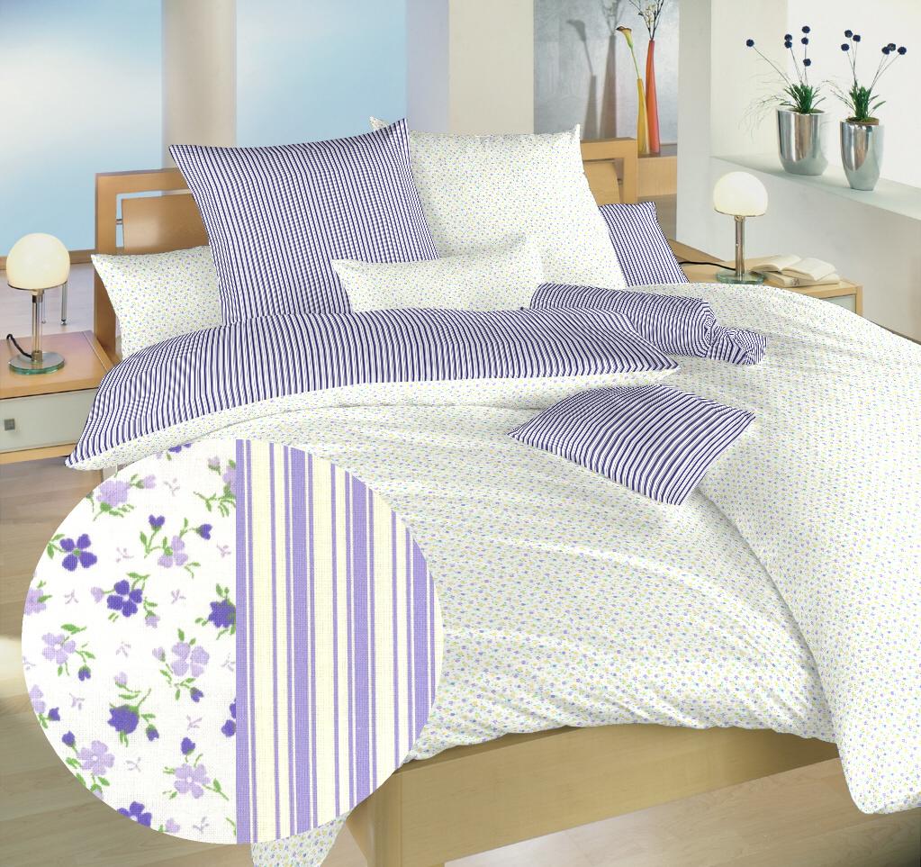 Povlečení bavlna Květinky fialové/Proužky fialové 140x220, 70x90 cm