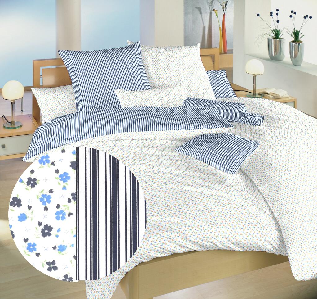 Povlečení bavlna Květinky modré/Proužky modré 140x200, 70x90 cm