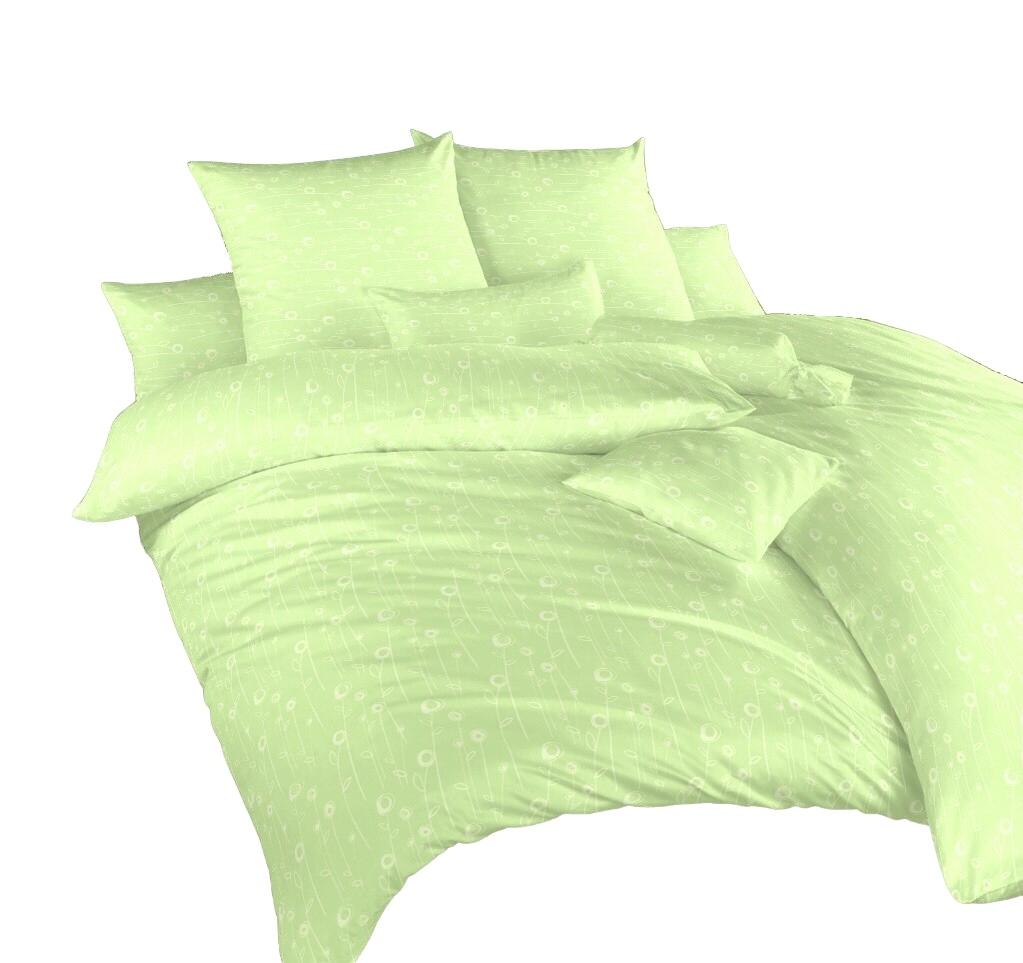 Povlečení damašek Luční květy zelené 240x200, 2x 70x90 cm
