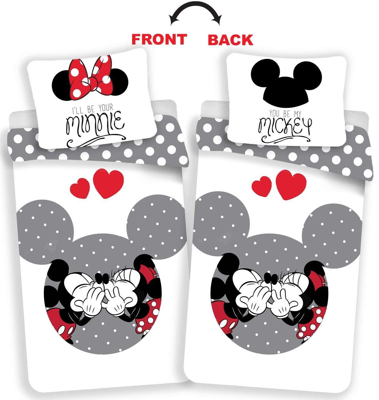 Povlečení Mickey and Minnie love grey 140x200, 70x90 cm