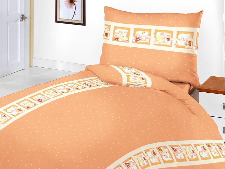 Povlečení bavlna do postýlky - Medvědí pohádka oranžová 1x 90/130, 1x 60/45