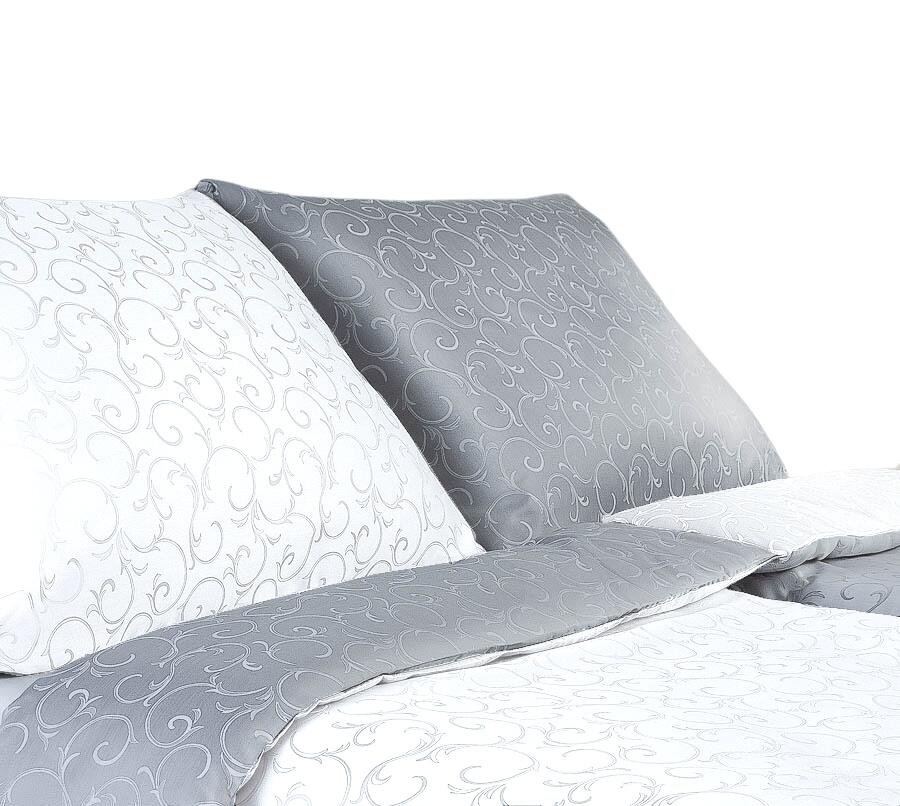Povlečení damašek Ornella šedá/bílá DUO 240x200, 2x70x90 cm