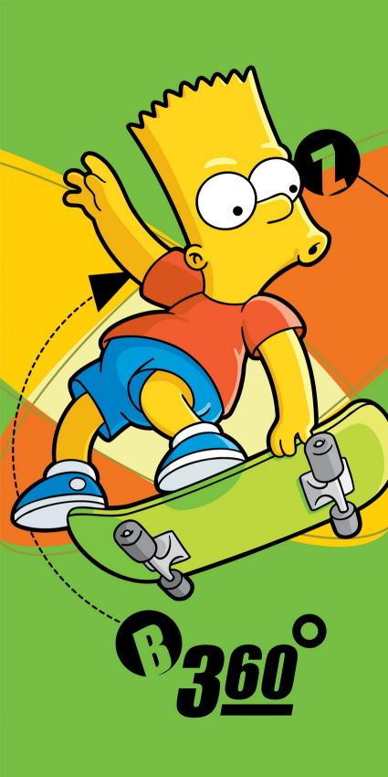 Plážová osuška Simpsons Bart skate - 75 x 150 cm