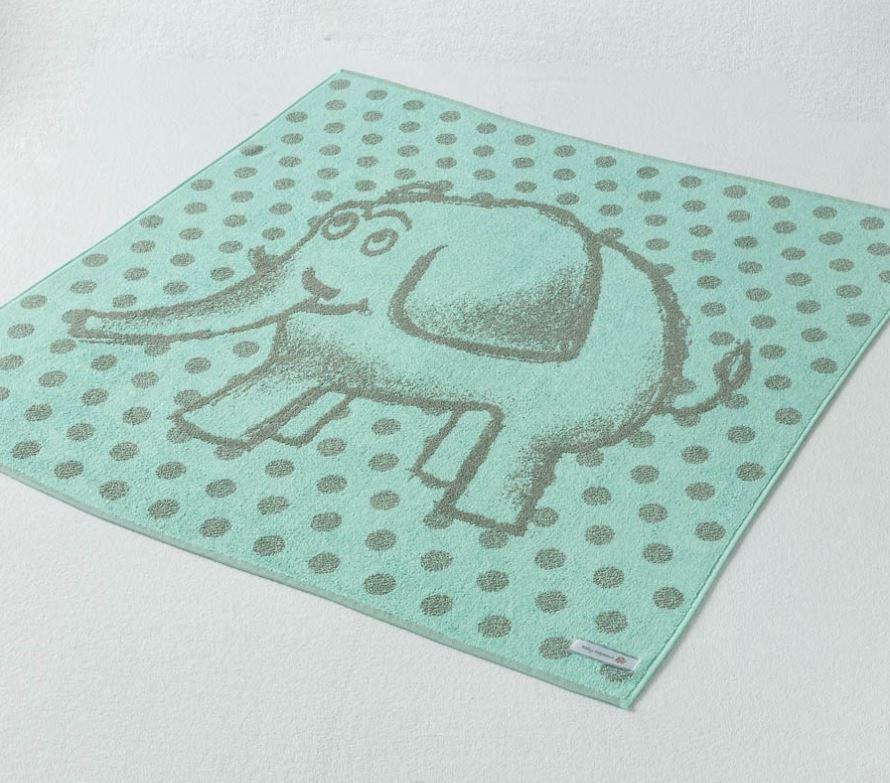 Dětská osuška Elephant zelenošedá 104x104 cm