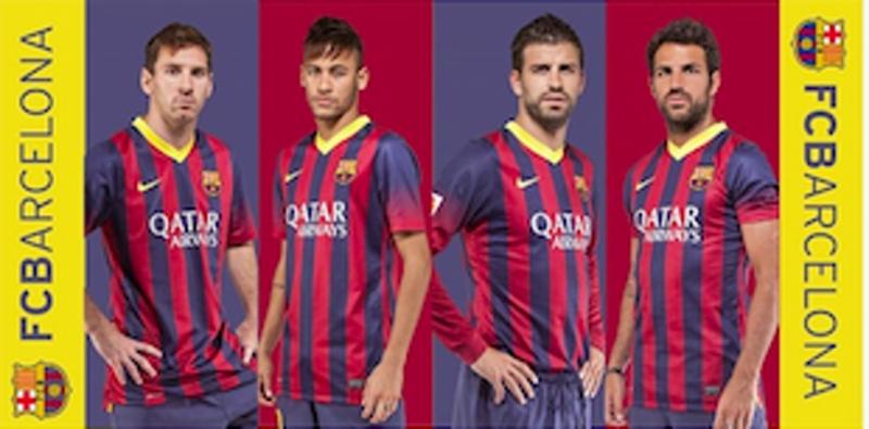 Plážová osuška FC Barcelona 03 hráči - 75x150 cm