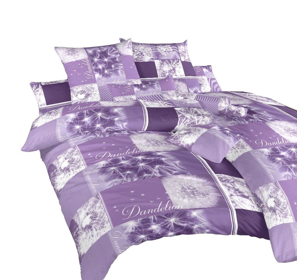 Povlečení bavlna Pampelišky 3D fialové 240x220 cm povlak