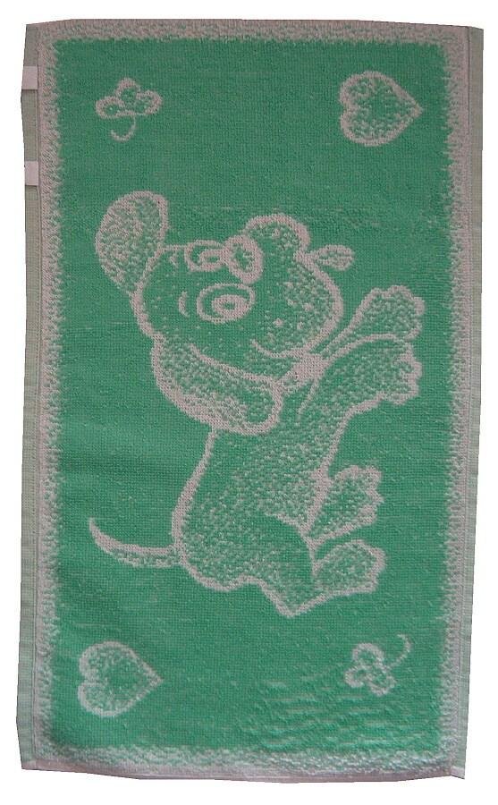 Dětský ručník Pejsek světle zelený 30x50
