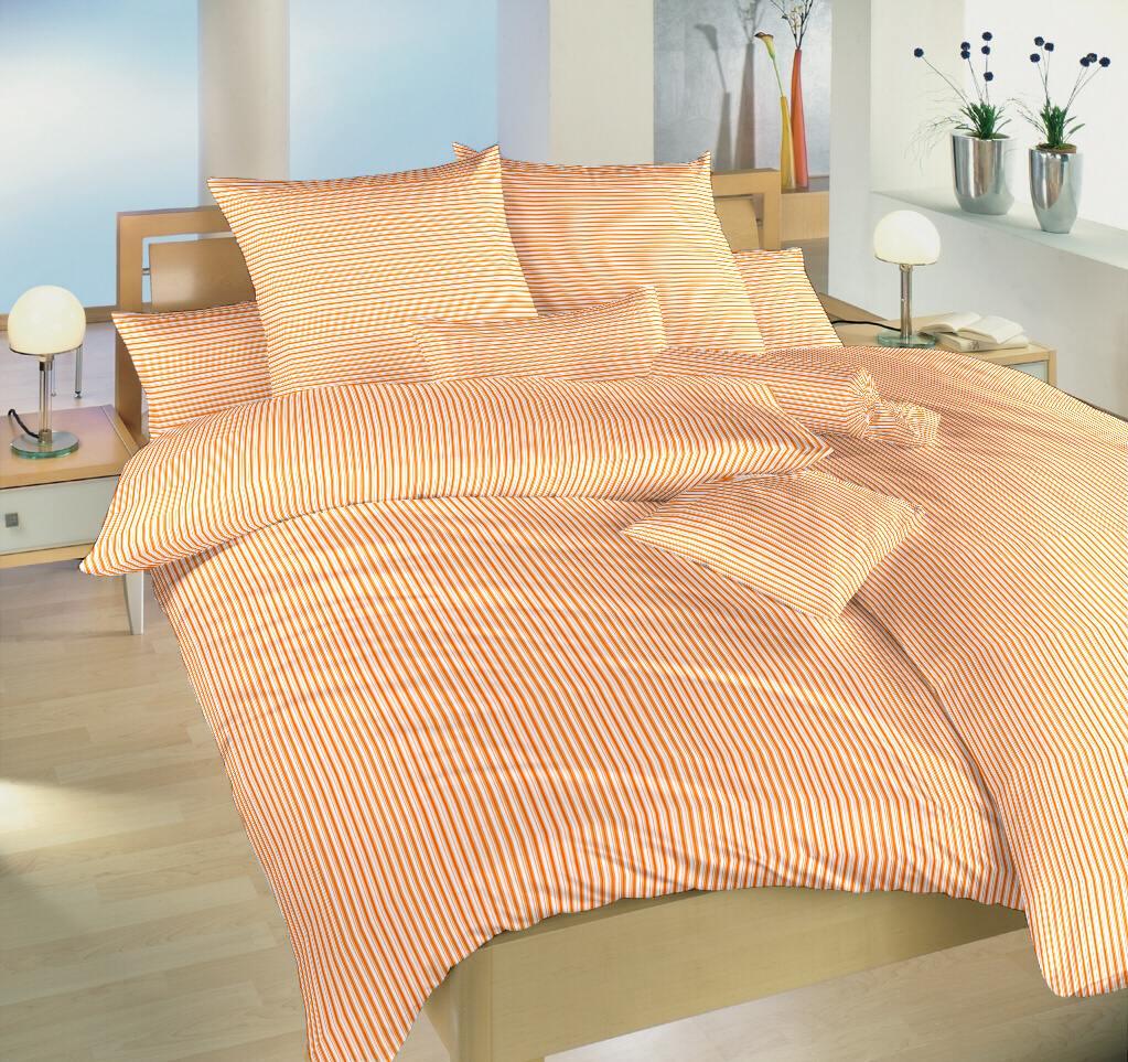 Povlečení bavlna Proužky oranžové 140x200, 70x90 cm