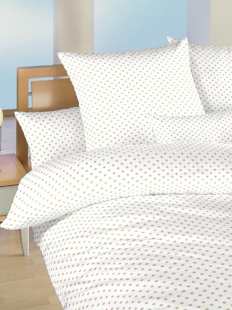 Povlečení bavlna do postýlky Puntík béžový na bílém 90x130, 45x60 cm