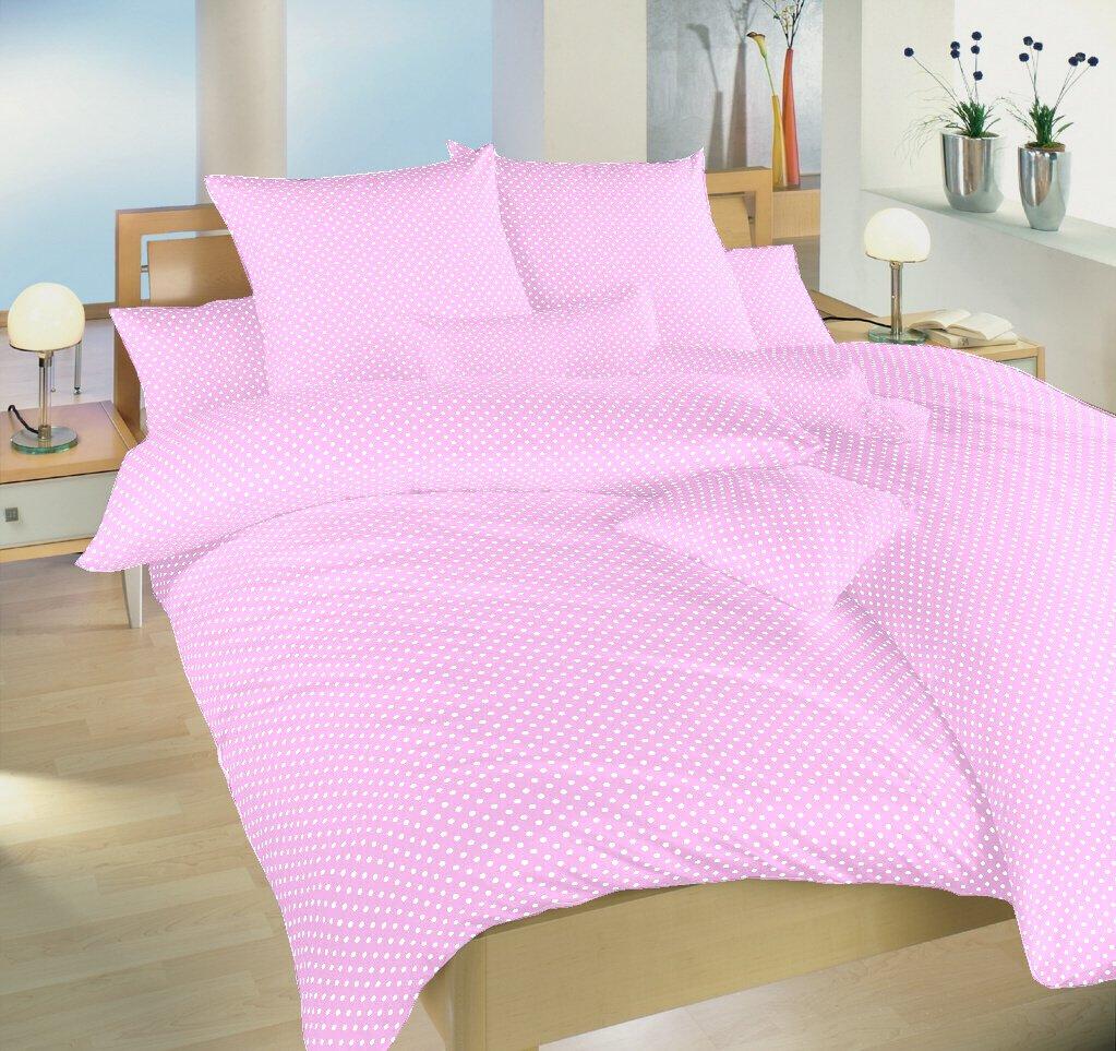 Povlečení bavlna Puntík bílý na růžovém 140x200, 70x90 cm
