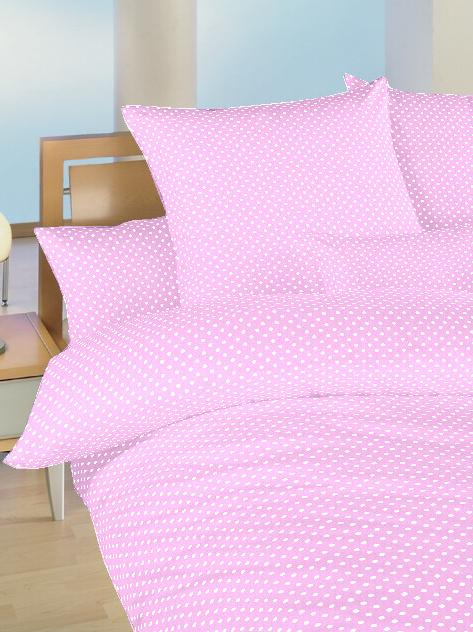 Povlečení bavlna do postýlky Puntík bílý na růžovém 90x130, 45x60 cm