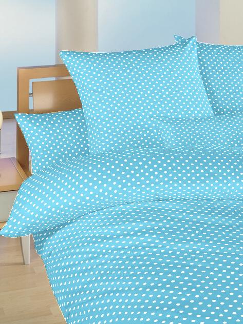 Povlečení bavlna do postýlky Puntík bílý na světle modrém 90x130, 45x60 cm