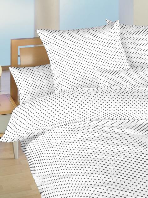 Povlečení bavlna do postýlky Puntík šedý na bílém 90x130, 45x60 cm