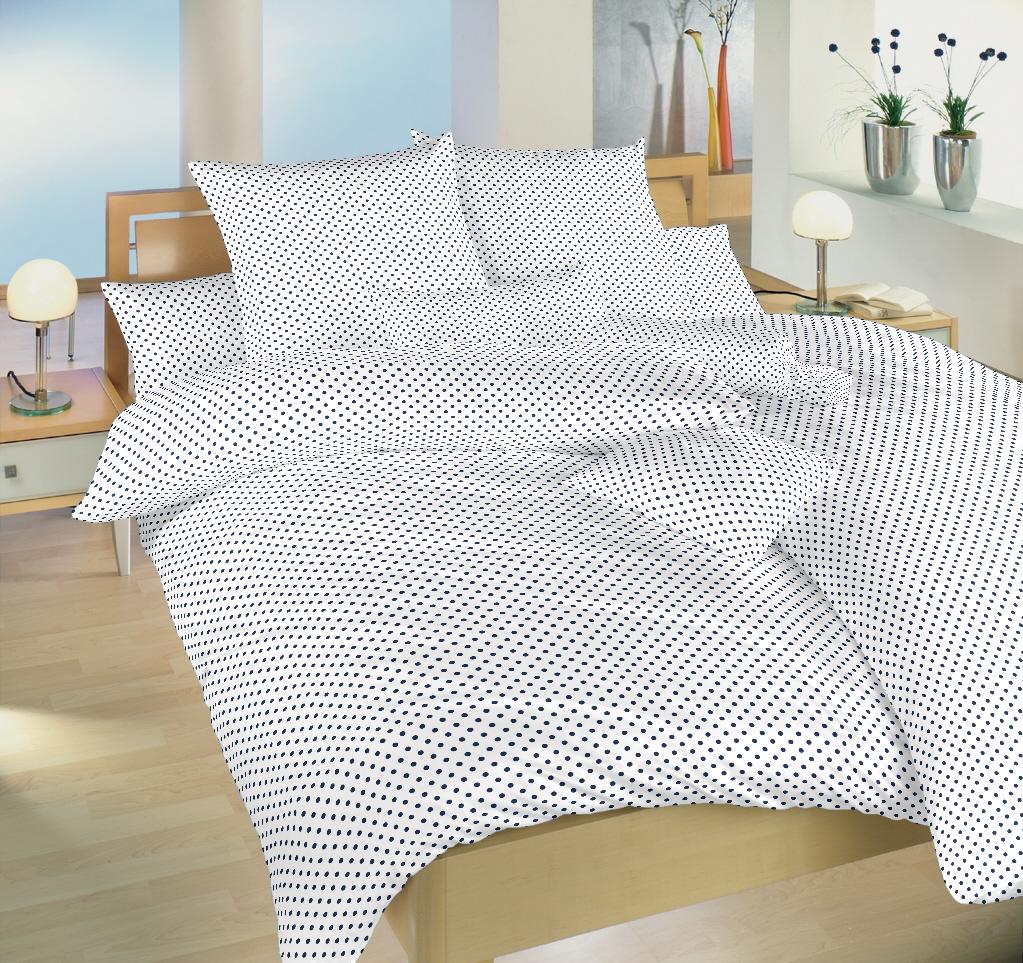 Povlečení bavlna Puntík tmavě modrý na bílém 140x200, 70x90 cm
