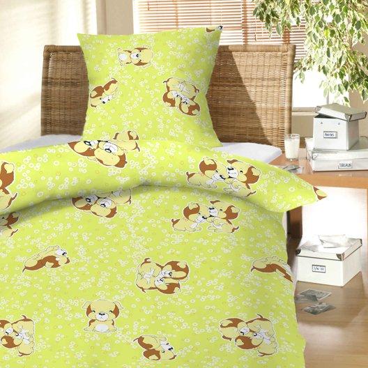 Povlečení bavlna do postýlky Štěně zelené 90x130, 45x60 cm