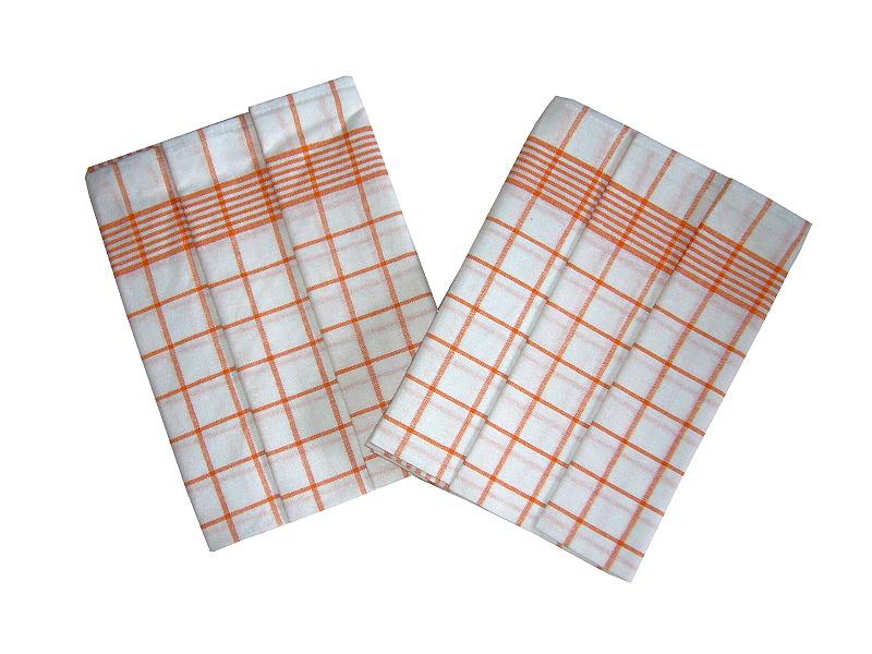 Utěrka Negativ Egyptská bavlna 50x70 bílá/oranžová 3 ks