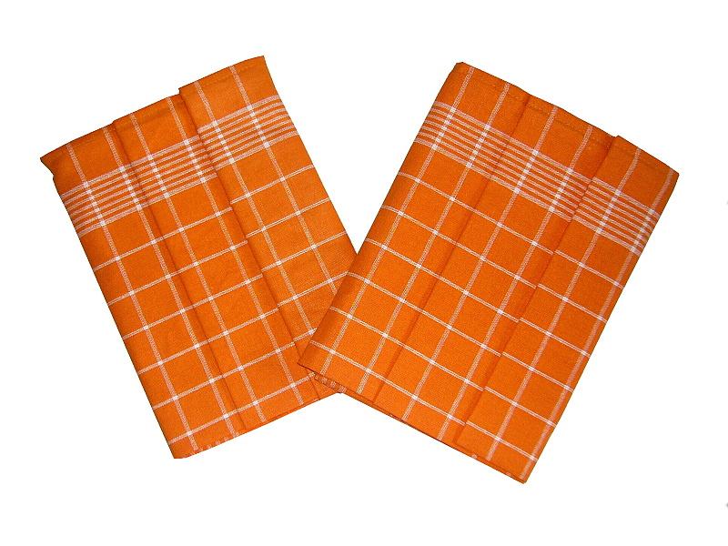 Utěrka Pozitiv Egypt.bavlna 50x70 - oranžová/bílá - 3 ks